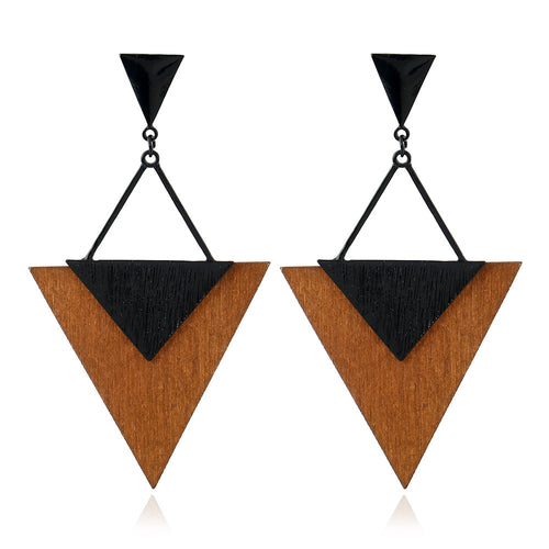 Vintage Wooden Triangle Earrings Creative Earrings