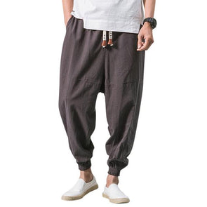 Men's Linen Breathable Solid Color Loose Fit Casual Harem Pants