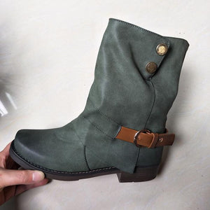 Daily Zipper Winter Low Heel Plus Size Boots
