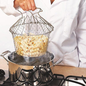 Foldable Steam Rinse Strain Fry French Chef Basket Magic Basket Mesh Basket Strainer Net