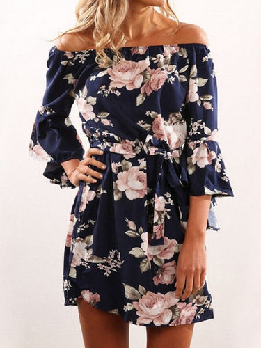 Navy Random Floral Print Off Shoulder Mini Dresses