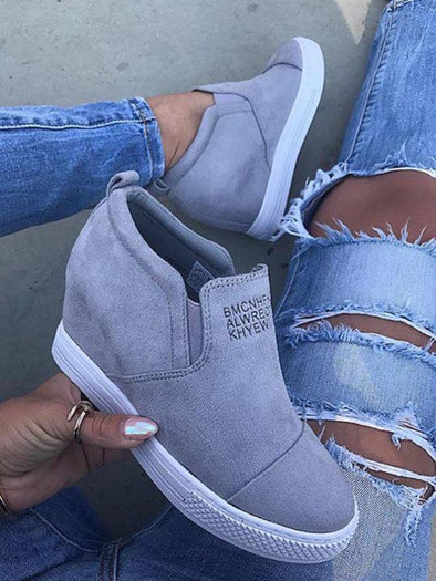 6fe220a5a56 Fashion Letter Slip On Wedge Sneakers Faux Suede Wedge Heel Casual Sneakers