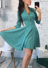 Autumn Fashion Women Bust Zippers Dress Solid Pleated V-neck Sexy Ladies Dresses