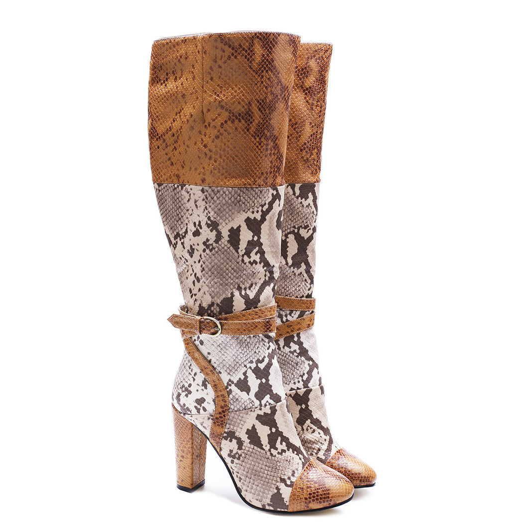 Elegant High Shoes Women's Boots Over Knee Snake Veins Boots