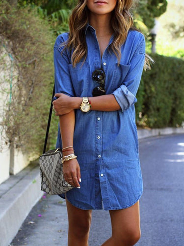 Blue H-line Denim Long Sleeve Casual Dress