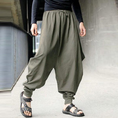 Casual Cotton Linen Solid Color Baggy Loose Fit Harem Pants for Men