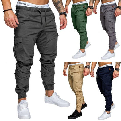 Multi-pocket Cargo Pants Elastic Waist Slim Fit Solid Color Trousers