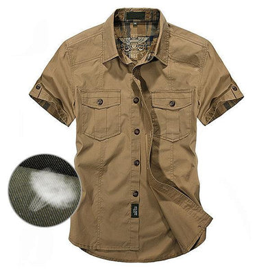 Outdoor 100% Cotton Breathable Multi Pockets Short Sleeve Shirts