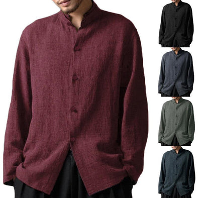 Vintage Chinese Style Stand Collar Casual Loose Shirt for Men