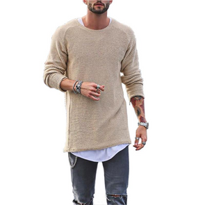Knit Sweater Solid Color Long-Sleeved O-Neck Regular Fit T-shirt