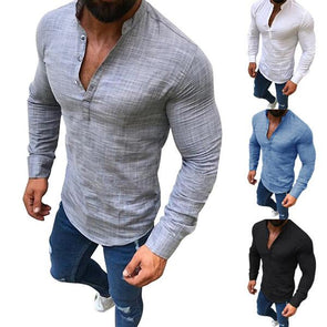 Men's Linen Casual Long Sleeve Solid Color Stand Collar T-Shirt