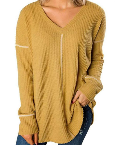 Causal V Neck Solid Long Sleeve T-Shirts