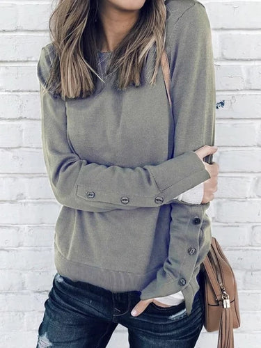 Elegant Solid Long Sleeve T-Shirts