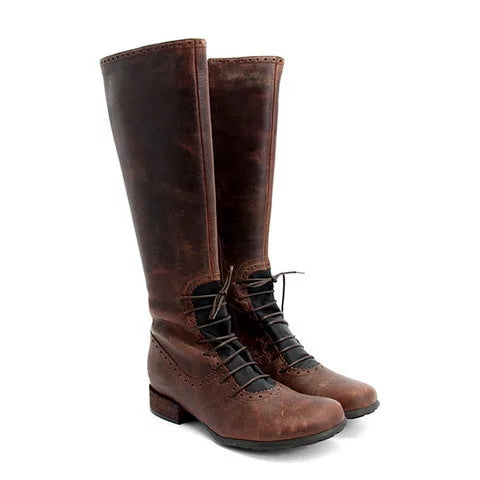 Women Vintage Front Lace Up Boots Casual Classic Shoes