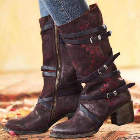 Women Vintage Boots Casual Zipper Shoes