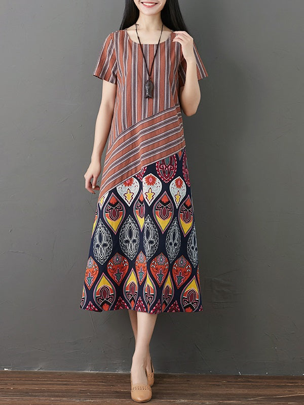 Plus Size Womens Vintage Style Printing Cotton Dresses Mollyca