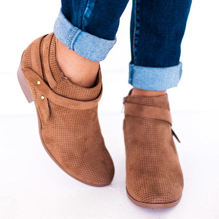 Chunky Heel Zipper Ankle Boots Artificial Suede Hollow Daily Booties