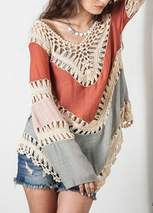 Boho Long Sleeve V neck Solid Crocheted Cutout Eyelet Chic Linen T-Shirt
