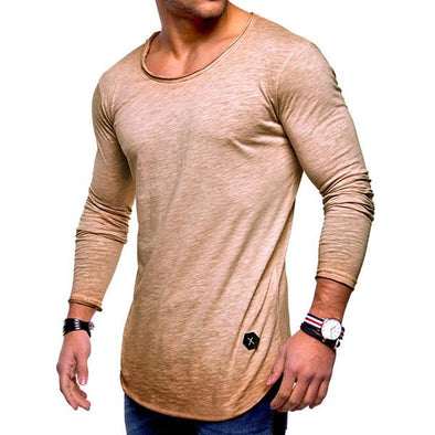 Soft Comfy Solid Color O-neck Long Sleeve Spring Fall Casual T-Shirt