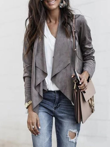 Paneled Casual Long Sleeve Shawl Collar Jacket