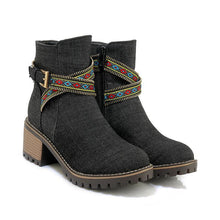 Chunky Heel Cloth Winter Buckle Knight Boots