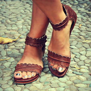 Sandals - Retro Ankle Strap Back Zipper Sandals