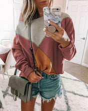 Casual One Shoulder Patchwork Basic T-Shirts Tops