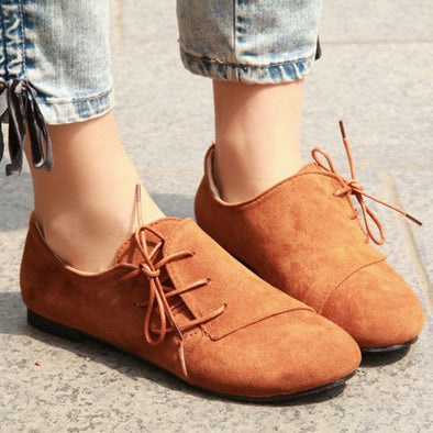 Women Vintage Lace-up Daily Faux Suede Loafers