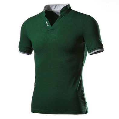 Chinese Collar V-neck Solid Color Short Sleeve Casual T-shirt