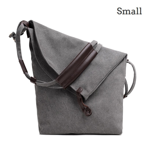 Men Women Vintage Messenger Bag Genuine Leather Canvas Crossbody Bag Tribal Rucksack