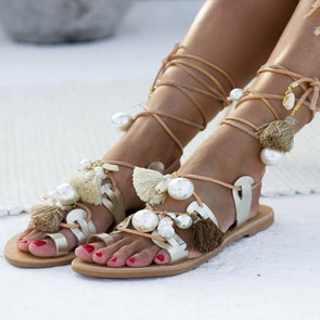 Women Leather Lace Up Sandals