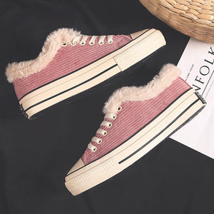 Corduroy Warm Lace-up Plush Athletic Sneakers