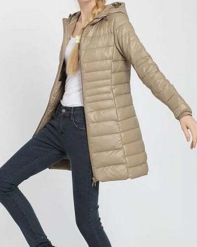 Women Fashion Ultra Light Down Jacket Hooded Winter Duck Down Jackets Slim Long Sleeve Parka Overcoat