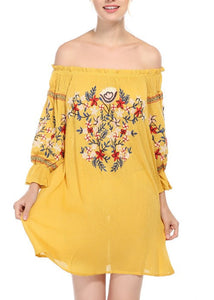 Embroidered Ethnic Style Off-Shoulder Fluffy Sleeve Dress
