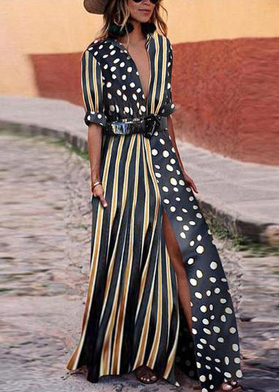 Fashion Polka Dot Striped Print Maxi Dress