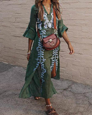 Green V Neck Women Summer Dresses Daily Vintage Tribal Dresses
