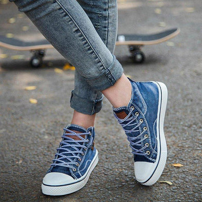 2019 New Women High Top Canvas Sneakers Denim Shoes