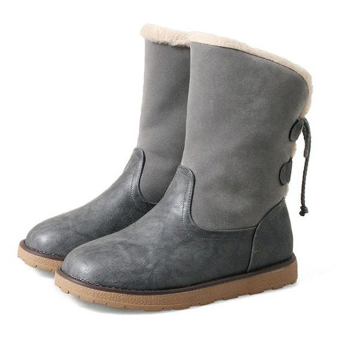 Women Winter Casual Warm Lining Back Lace Up Snow Boots