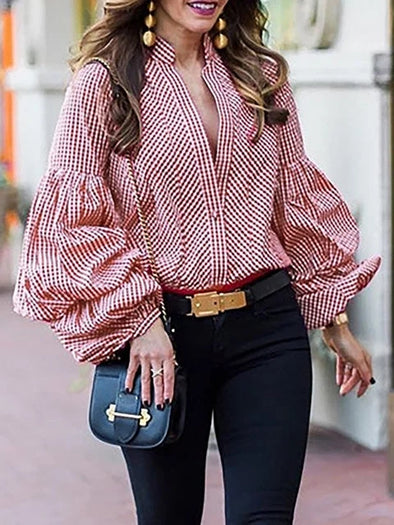 Balloon Sleeve Elegant Gingham Stand Collar Blouse