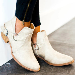 Simple Pure Color Buckle Chunky Heel Boots
