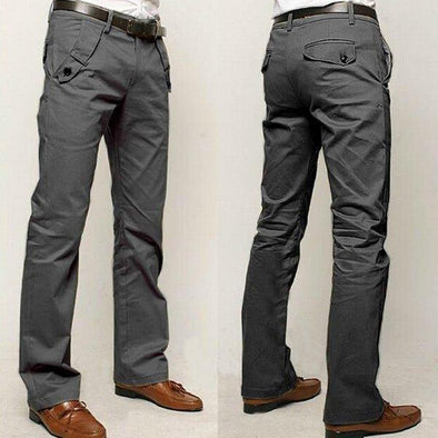 Excellent Quality Cotton Solid Color Casual Slim Fit Straight Pants