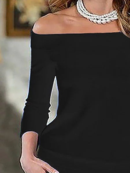 Off Shoulder Bodycon Women Daily Elegant 3/4 Sleeve Paneled Prom Dress