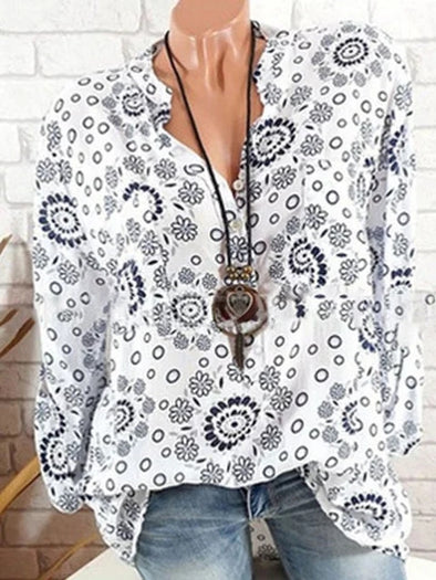 Elegant Geometric Printed/Dyed V neck Blouse