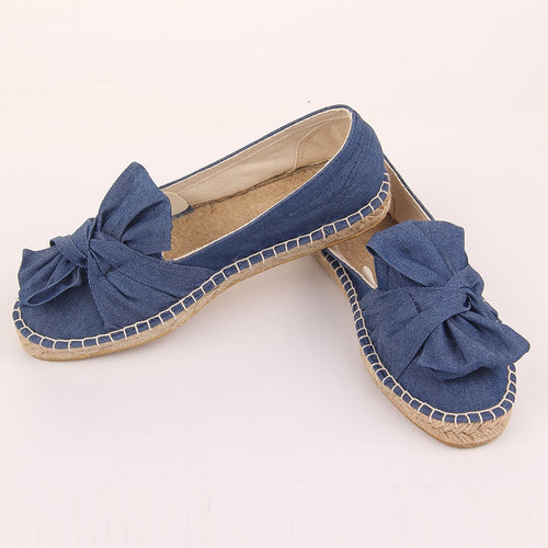 Women Canvas Flat Slip on Comfortable Bow-knot Loafer