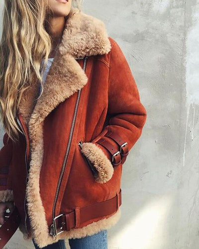Autumn Winter Women Fashion Warm Fur Coat Casual Style Zipper Motorcycle Jacket Winter Outwear