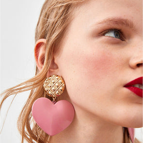 Sweet Heart Pendant Earrings
