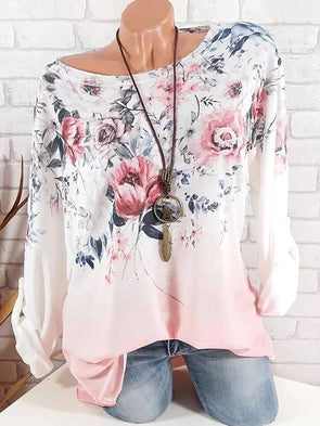 Long Sleeve Elegant Floral Printed/Dyed Cotton-blend Round Neck Plus Size Shirts & Blouse