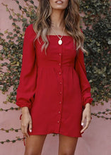 Elegant High Waist Button Down Casual A-Line Dress Long Sleeve Square Neck Mini Dress
