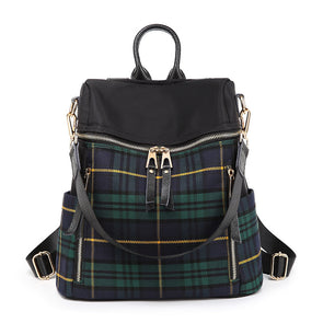Women Leisure Plaid Backpack Large Capacity Shoulder Bag