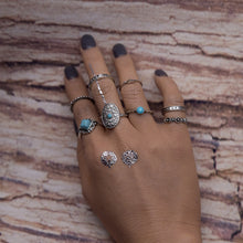 8 Pcs Bohemian Cocktail Ring Set Vintage Turquoise Rings for Women